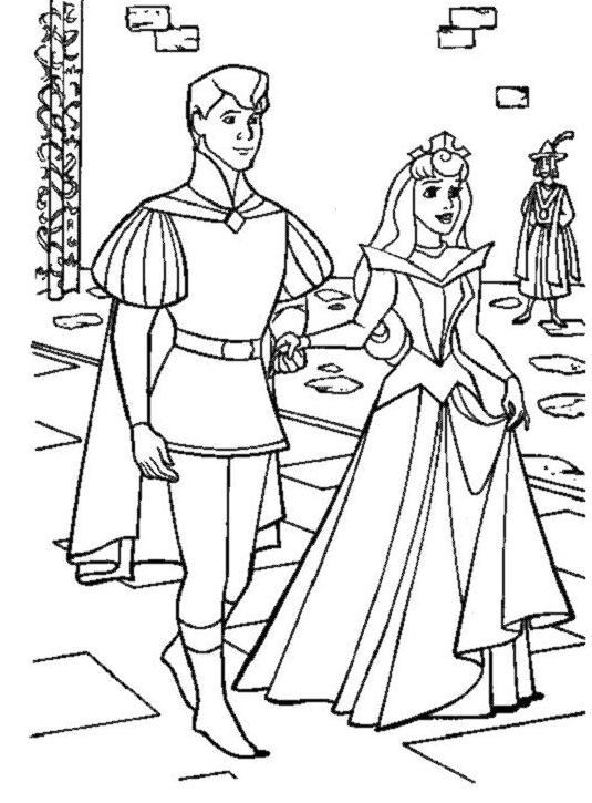 Coloriage a imprimer la belle au bois dormant et le prince - Coloriage de prince ...