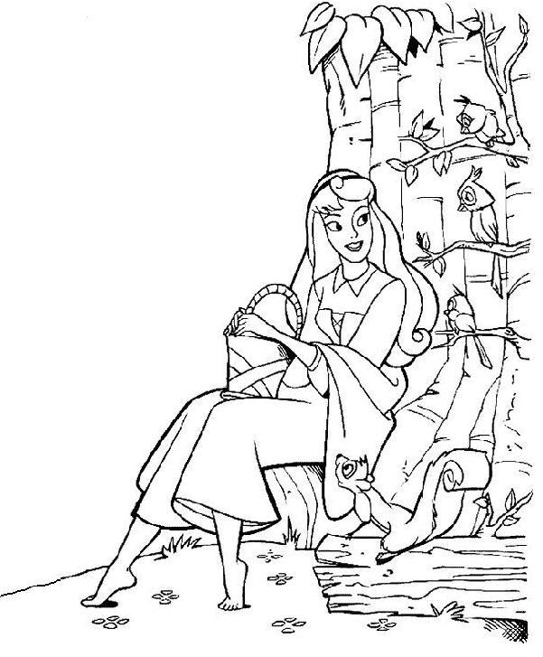 Coloriage a imprimer la belle au bois dormant parle aux oiseaux gratuit et colorier - Dessin de la belle au bois dormant ...