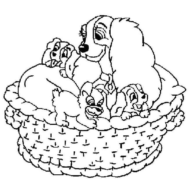 Coloriage a imprimer la belle et ses chiots dans le panier - Photo de chiot a imprimer ...