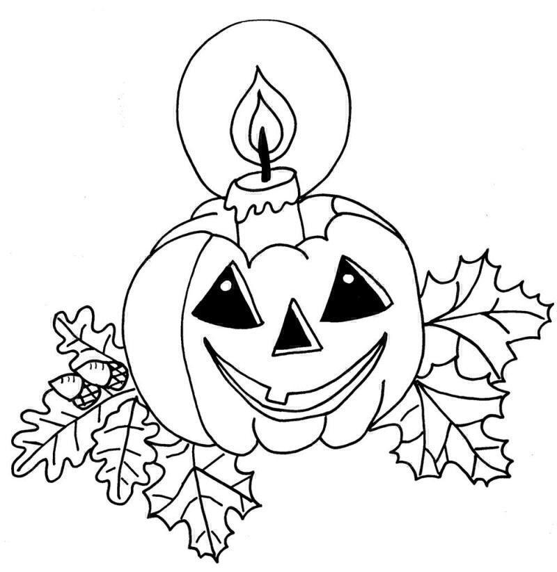 Coloriage a imprimer la bougie dans la citrouille d halloween gratuit et colorier