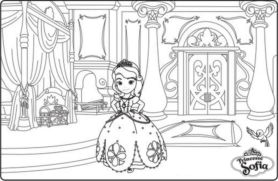 coloriage la chambre de la princesse sofia - Chambre Princesse Sofia