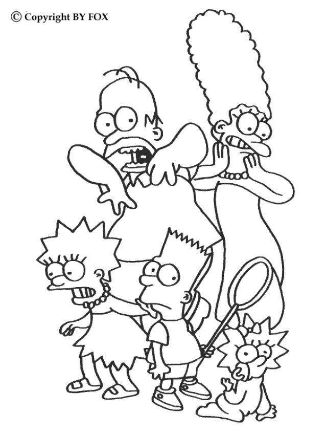 Coloriage a imprimer la famille simpson effrayee gratuit - Coloriage les simpson ...
