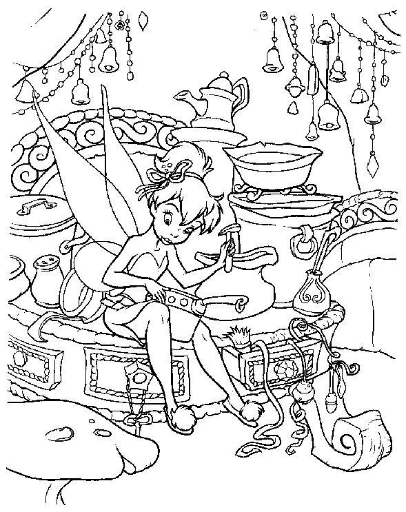 Coloriage a imprimer la fee clochette dans sa chambre gratuit et colorier - Fee clochette a colorier ...