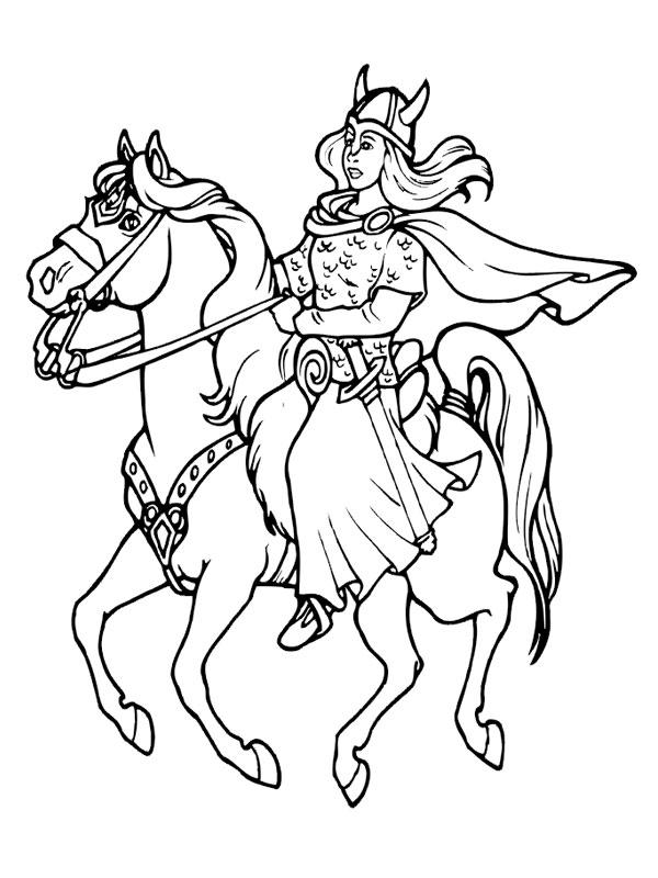 Coloriage a imprimer la femme viking au galop gratuit et - Dessin de viking ...