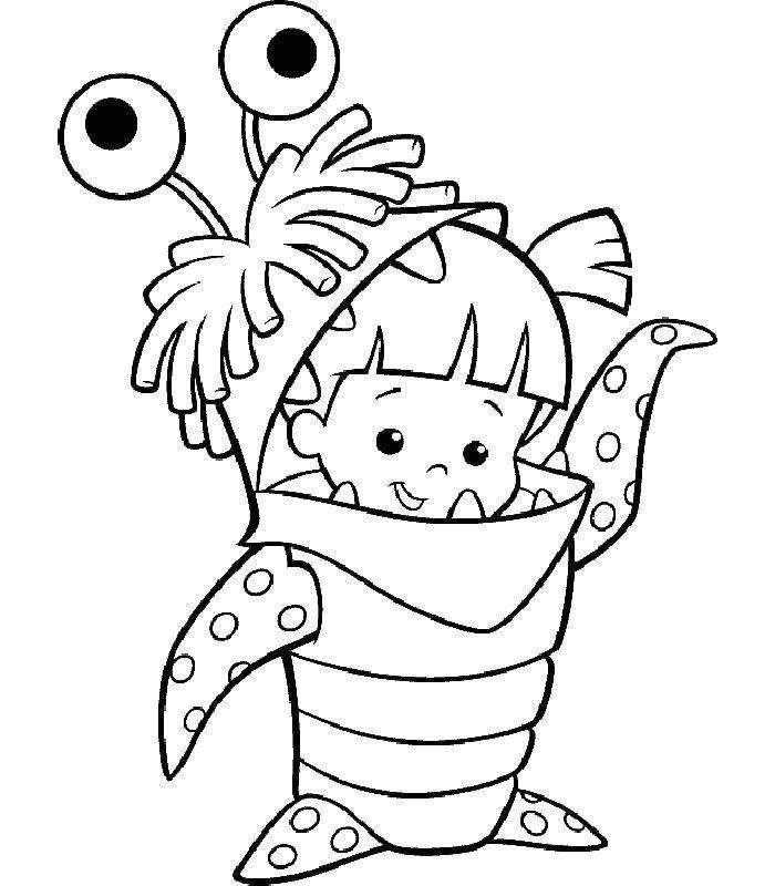 Coloriage a imprimer la fillette en costume de monstre gratuit et colorier - Coloriage fillette ...