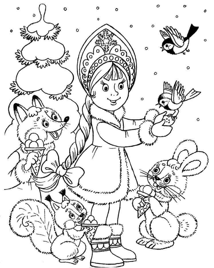 Coloriage a imprimer la fillette et les animeaux de noel gratuit et colorier - Coloriage fillette ...