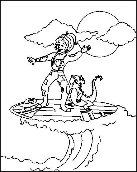 Coloriage a imprimer la maitresse fait du surf le bus magique gratuit et colorier - Coloriage de maitresse ...