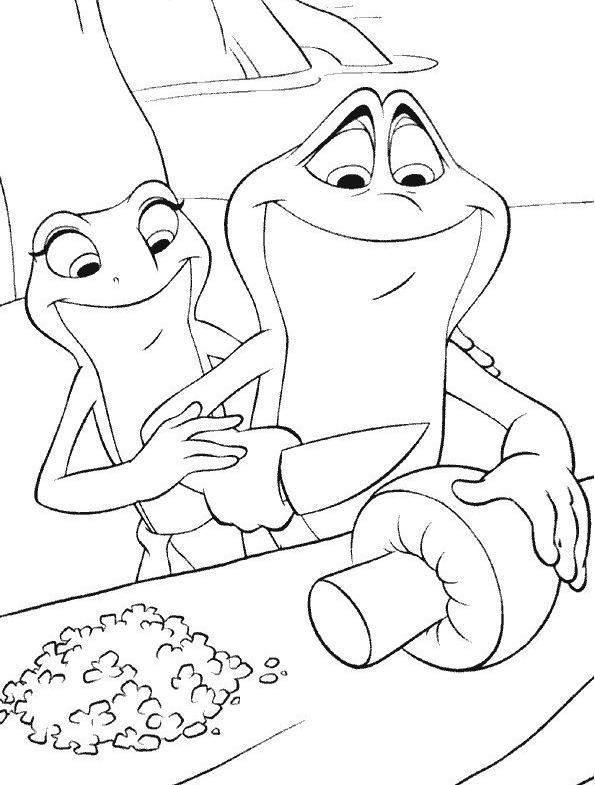 Coloriage a imprimer la princesse et la grenouille cuisinent gratuit et colorier - Image de princesse a colorier ...