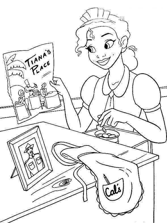 Coloriage a imprimer la princesse et la grenouille range ses sous gratuit et colorier