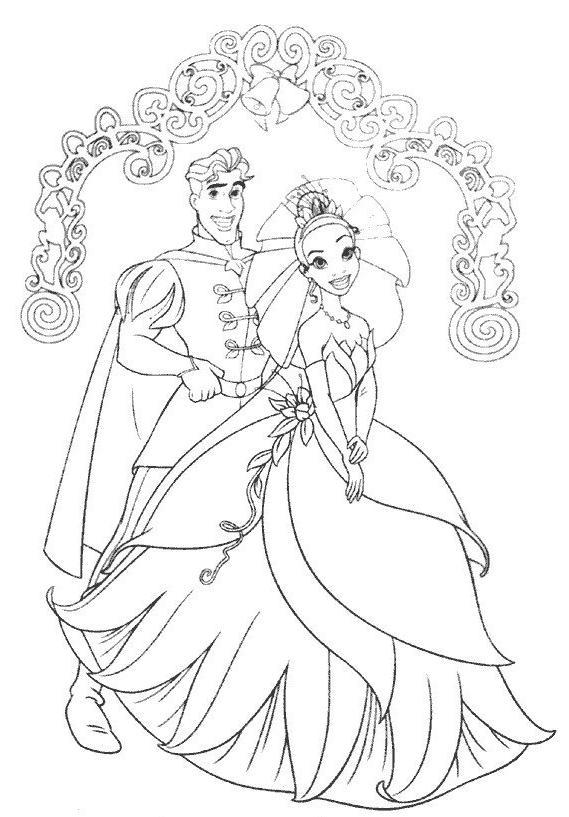 Coloriage a imprimer la princesse et la grenouille se marient gratuit et colorier - Coloriage la princesse et la grenouille ...
