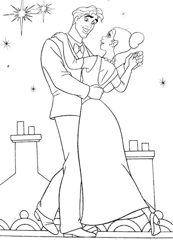 Coloriage a imprimer la princesse et le prince dansent - Prince et princesse dessin ...