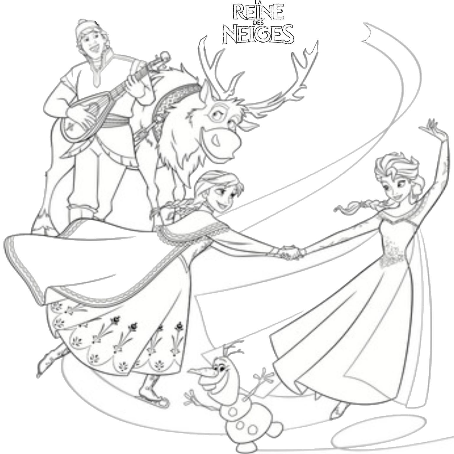 coloriage la reine des neiges la fete