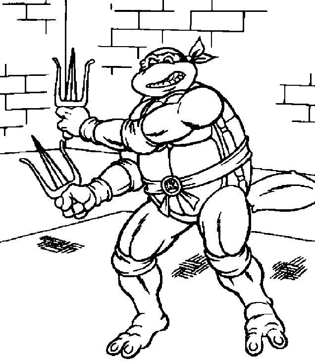 coloriage la tortue ninja et ses armes