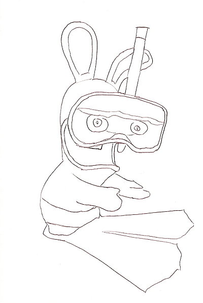 Coloriage a imprimer lapin cretin en tenue de plongee - Lapin cretin a imprimer ...