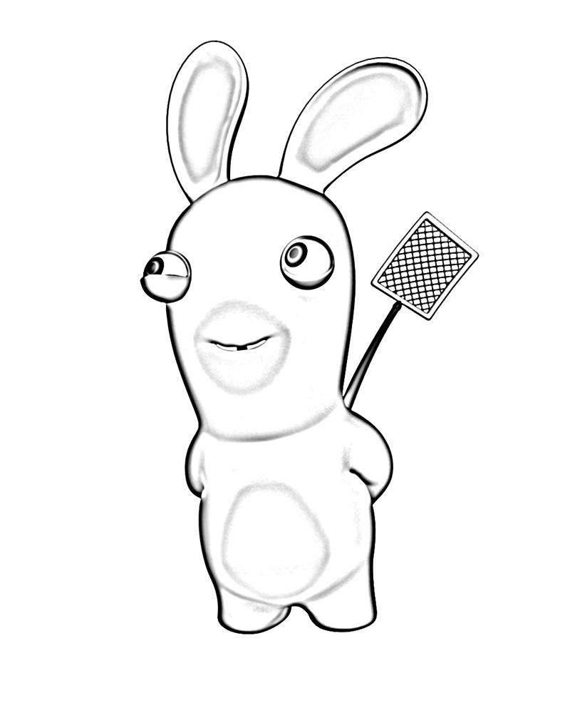 Coloriage a imprimer lapin cretin et sa tapette a mouche - Lapin cretin a imprimer ...