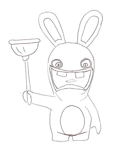 Coloriage a imprimer lapin cretin et sa ventouse gratuit ...