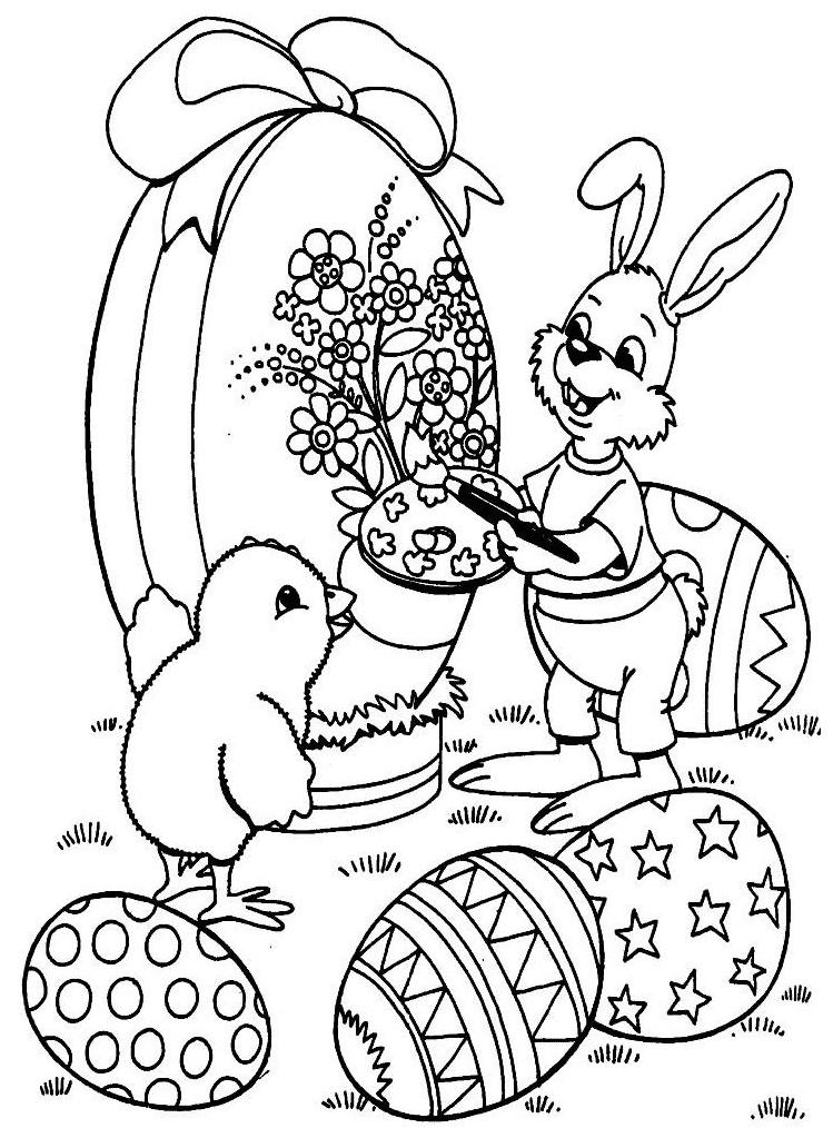 Coloriage a imprimer lapin et le poussin qui decore un oeuf de paques gratuit et colorier