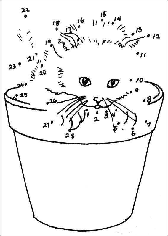 Coloriage point a point a imprimer le chaton dans le pot gratuit et colorier - Coloriage chaton a imprimer ...