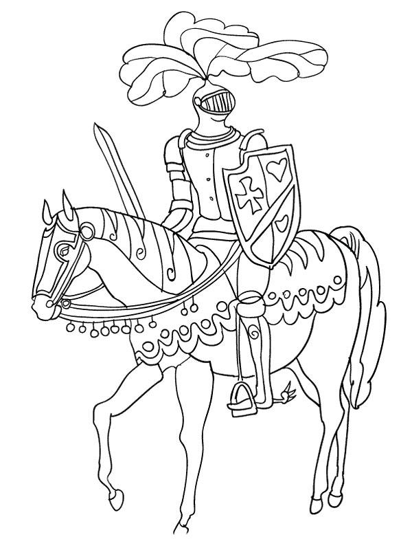 Coloriage a imprimer le chevalier sur sa monture gratuit - Dessin anime chevalier de la table ronde ...