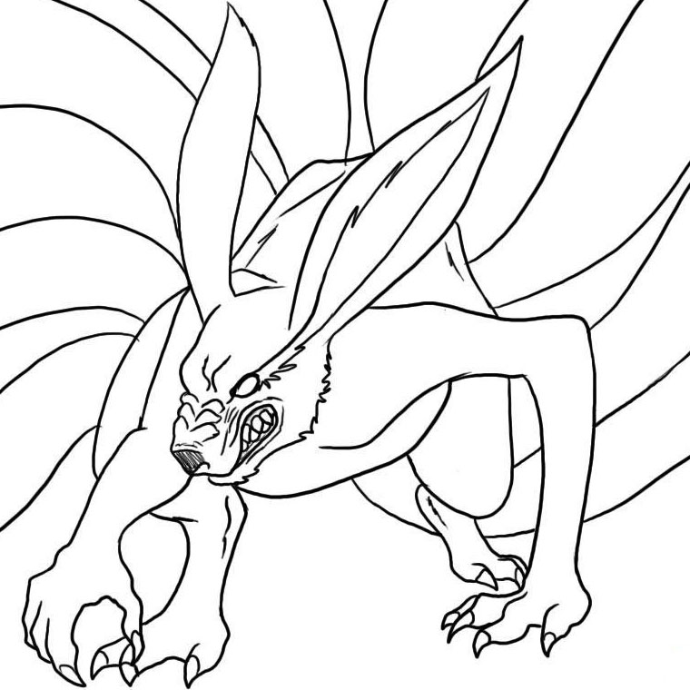 coloriage le demon renard a 9 queues de naruto
