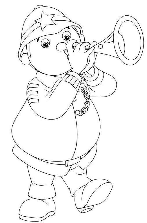 Coloriage a imprimer le gendarme joue de la trompette - Coloriage gendarme ...