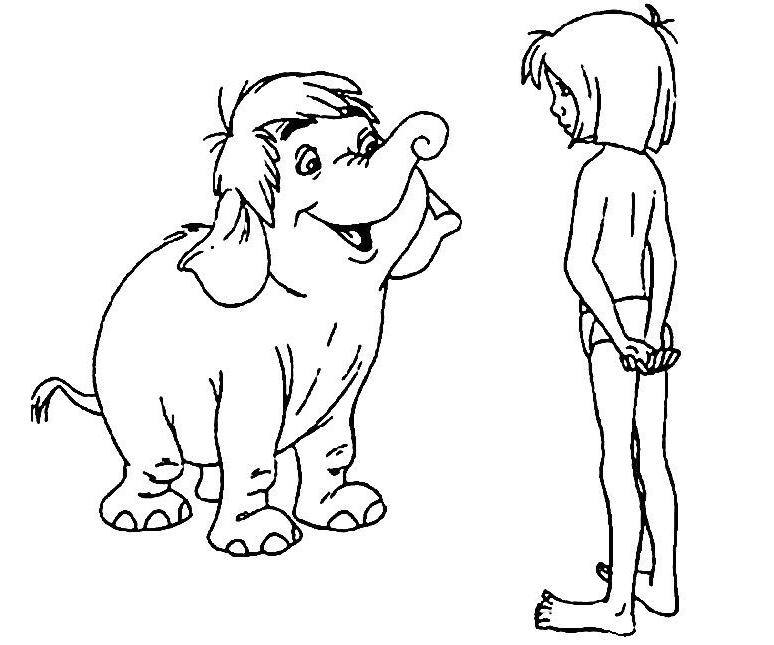 Coloriage a imprimer le livre de la jungle mowgli parle avec junior gratuit et colorier - Dessin livre de la jungle ...