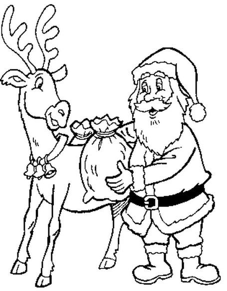 Coloriage a imprimer le pere noel charge les cadeaux sur - Dessin renne du pere noel ...