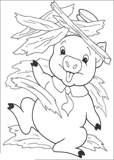 Coloriage a imprimer le petit cochon sous la paille - Dessin des 3 petit cochon ...