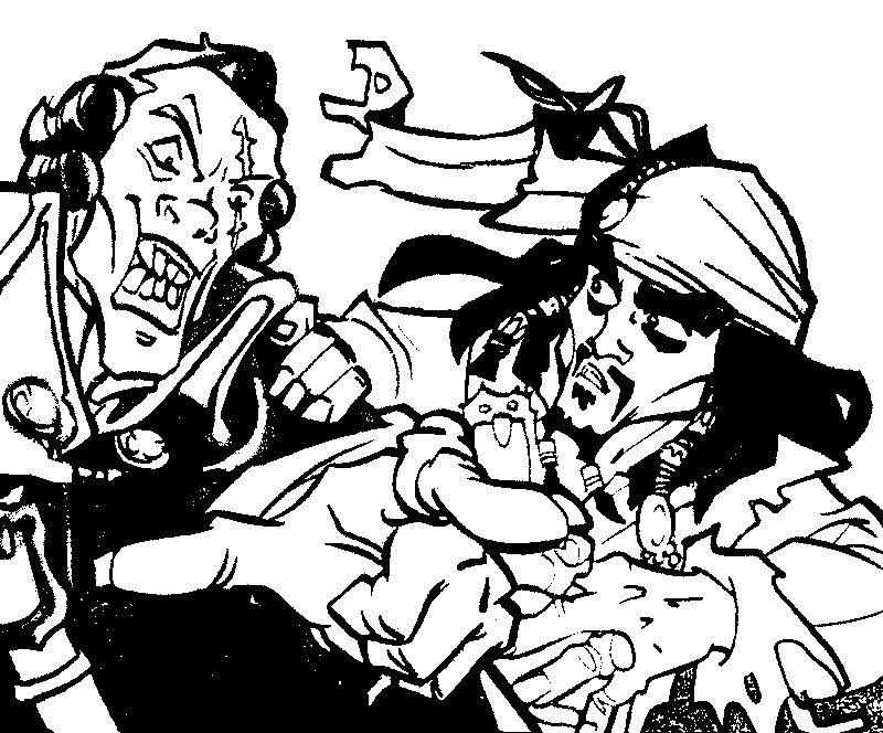 Coloriage a imprimer le pirate des caraibes et le baron - Dessin pirate des caraibes ...