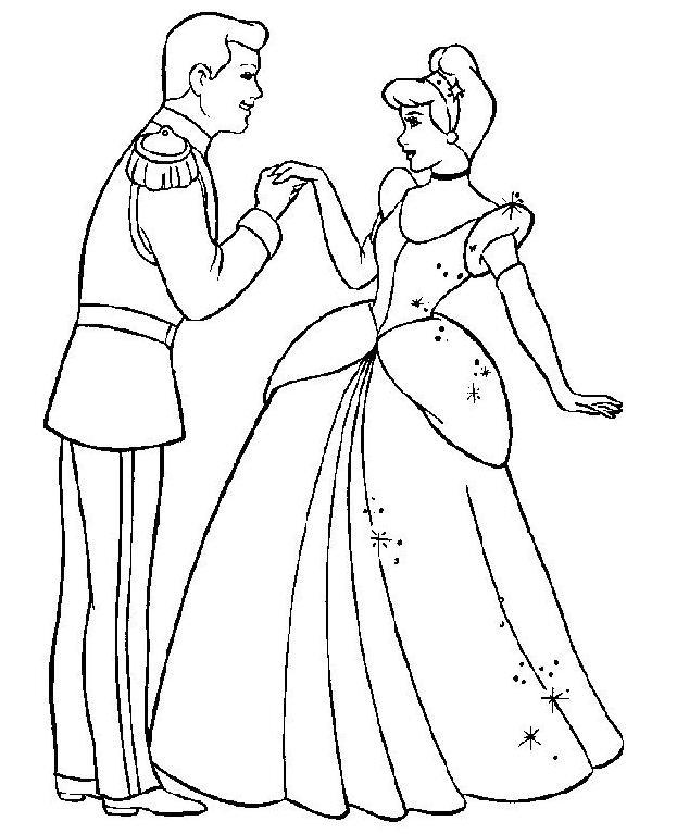 Coloriage Cendrillon Facile.Coloriage A Imprimer Le Prince Charmant Et Cendrillon