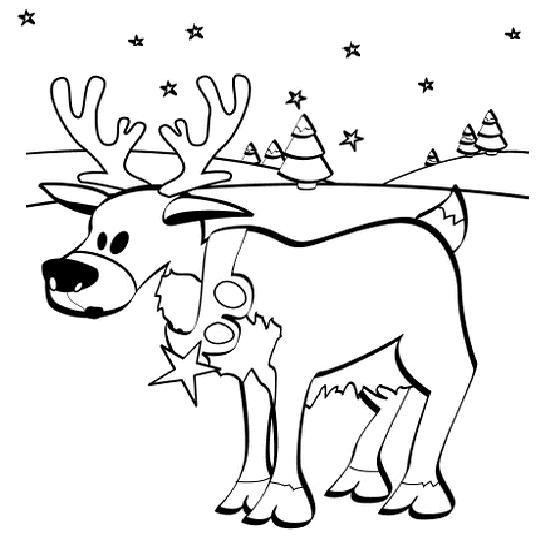 Coloriage a imprimer le renne du pere noel dans la neige - Dessin renne du pere noel ...