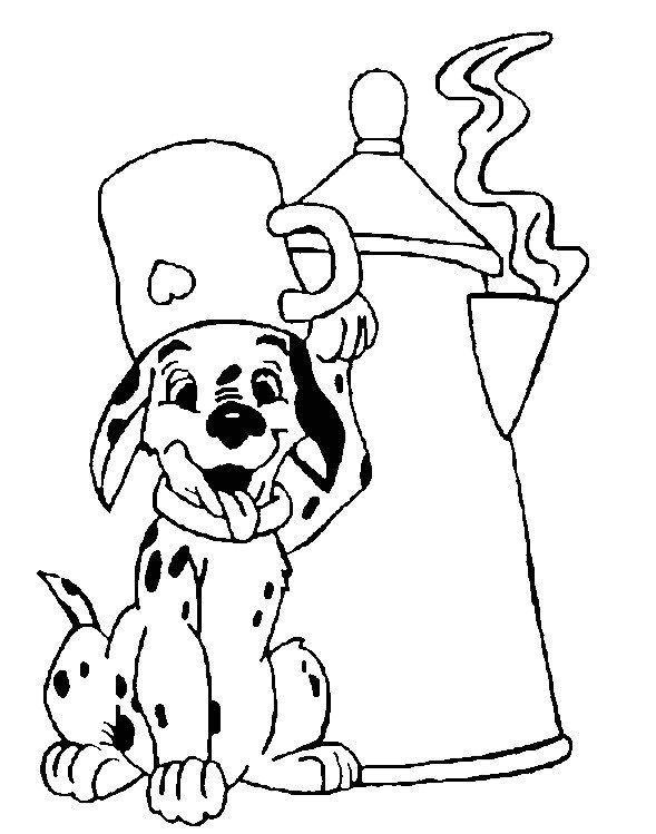 Coloriage a imprimer les 101 dalmatiens le chiot et la theiere gratuit et colorier - Coloriage chiot ...