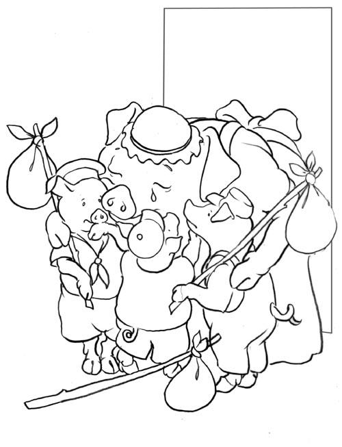 Coloriage a imprimer les 3 petits cochons partent de la - Dessin des 3 petit cochon ...