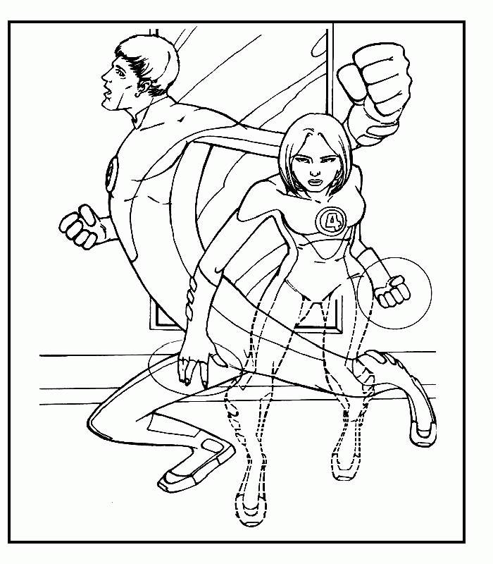 Coloriage a imprimer les 4 fantastiques la femme invisible et mr fantastic gratuit et colorier - La femme invisible 4 fantastique ...