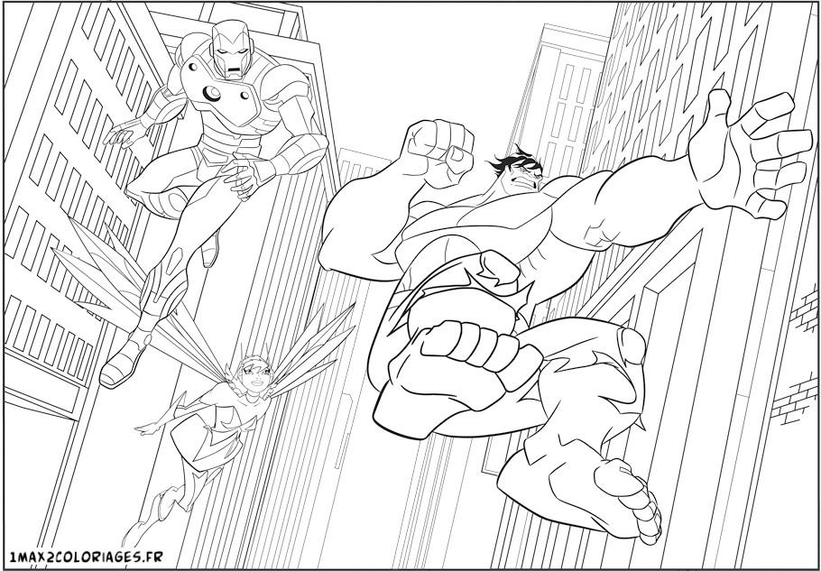 Coloriage a imprimer les avengers en action hulk iron man - Coloriage de iron man ...