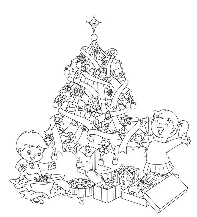 coloriage a imprimer les enfants ouvrent leurs cadeaux au pied du sapin de noel gratuit et colorier. Black Bedroom Furniture Sets. Home Design Ideas