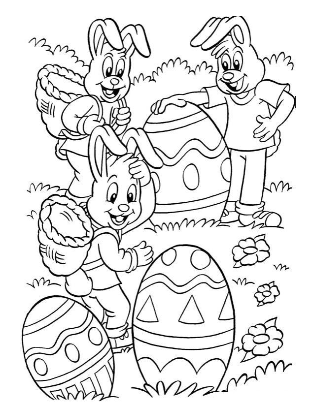 Coloriage A Imprimer Les Lapins De Paques Gratuit Et Colorier