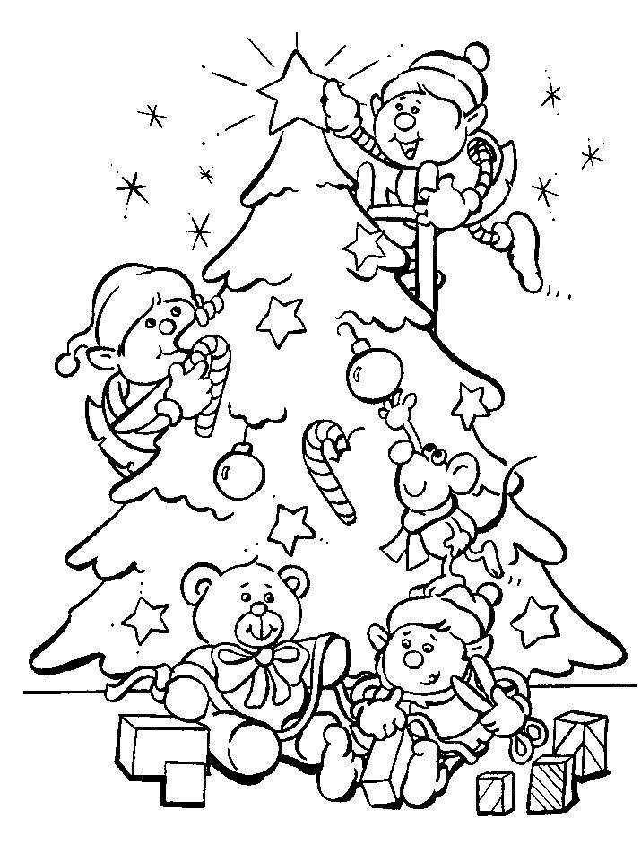 Coloriage A Imprimer Les Lutins Decorent Le Sapin De Noel