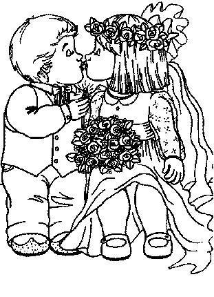 Coloriage a imprimer les maries s embrassent gratuit et colorier - Coloriage maries ...