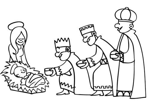 coloriage les rois mages s inclinent devant l enfant jesus