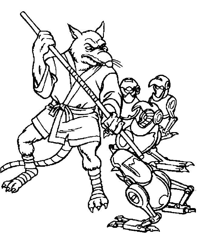 Coloriage a imprimer les tortues ninjas et leur maitre rat - Rat dans tortue ninja ...