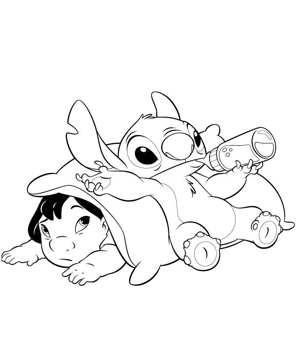Free coloring pages of baby stich