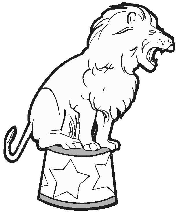 Coloriage A Imprimer Lion Sur Le Tabouret De Cirque Gratuit