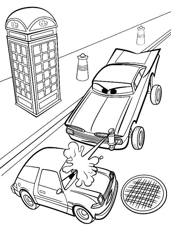Coloriage a imprimer luigi se fait asperger cars 2 gratuit - Cars 2 coloriage ...