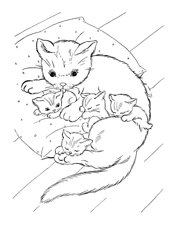 coloriage maman chat et ses chatons - Coloriage Maman