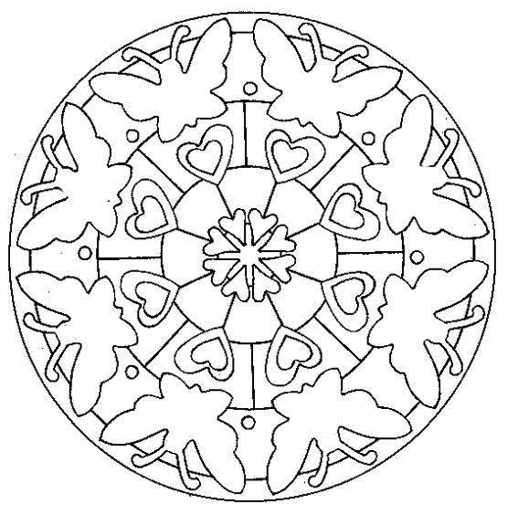 Coloriage a imprimer mandala coeur de papillons gratuit et - Mandala coeur imprimer gratuitement ...