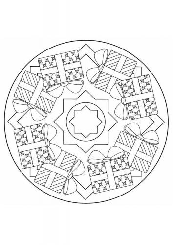 Coloriage a imprimer mandala de noel gratuit et colorier - Coloriage de mandala de noel ...