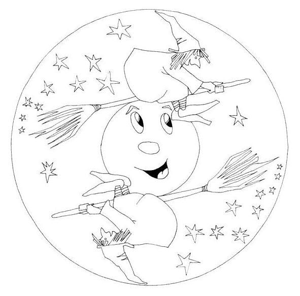 Coloriage A Imprimer Mandala Sorcieres Halloween Gratuit Et