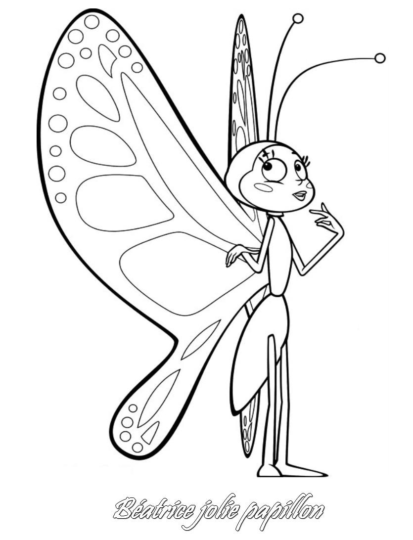Coloriage Papillon Et Abeille.Coloriage A Imprimer Maya L Abeille Beatrice Papillon Gratuit Et