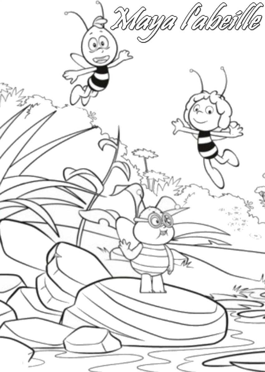 Coloriage a imprimer maya l abeille et barry gratuit et - Coloriage maya l abeille ...